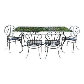 Antique Iron Clamshell Back Patio Dining Set - 5 Pieces For Sale