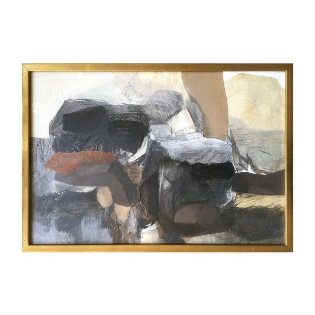 1962 Vintage Robert Kohls Abstract Pastel on Paper Collage For Sale