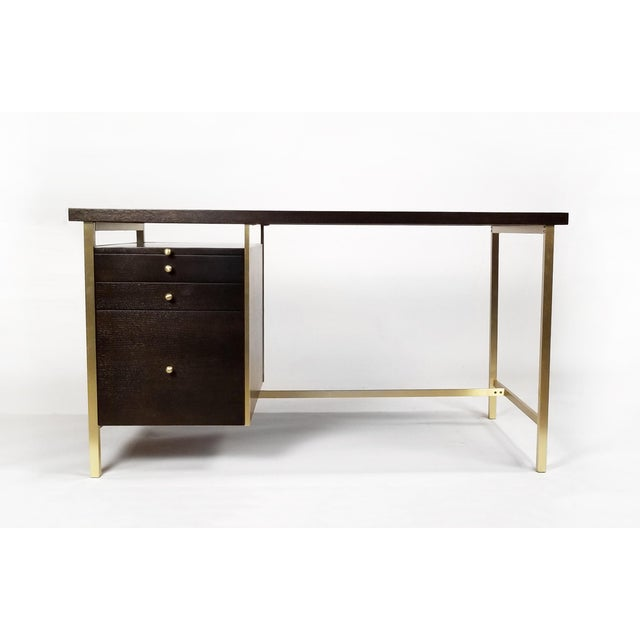 Contemporary Paul McCobb Brass & Mahogany Desk for the Connoisseur Collection H. Sacks & Sons For Sale - Image 3 of 11