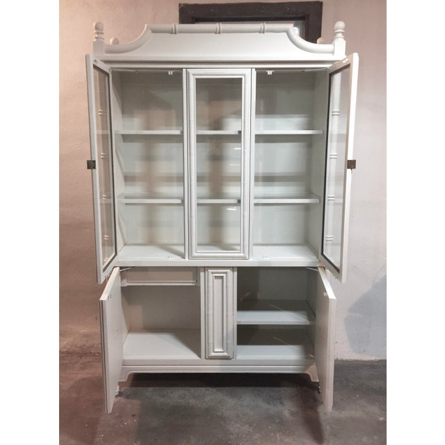 Wood Chinoiserie Faux Bamboo Painted China Cabinet For Sale - Image 7 of 10