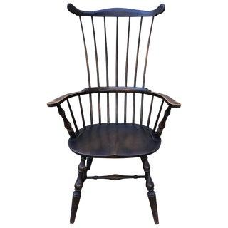 Elegant Ebonized Governor Bradford Windsor Comb Back Chair For Sale