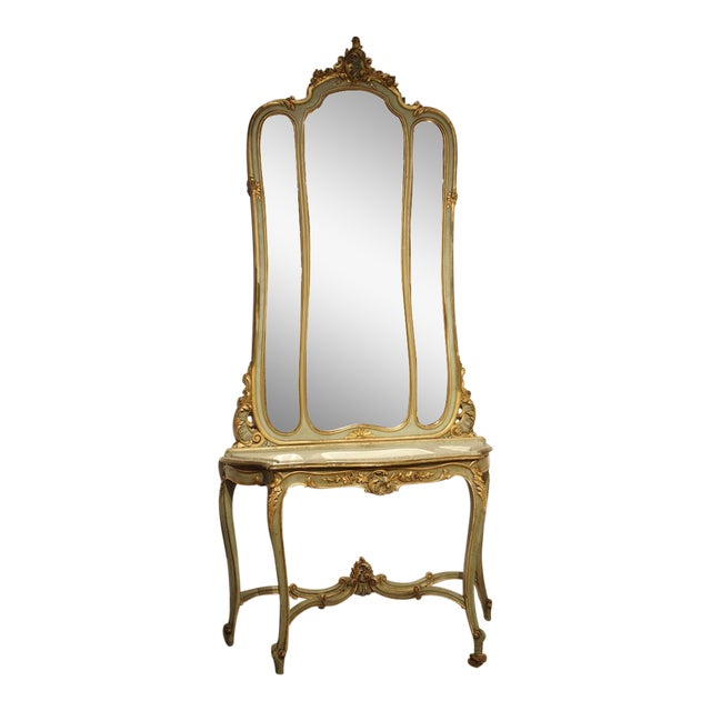 Antique Painted Console Table and Mirror from Italy, Circa 1880 For Sale