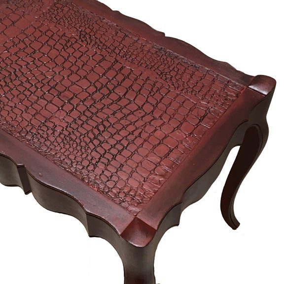 Queen Anne Vintage Burgundy Side Table For Sale - Image 3 of 3