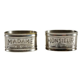 1940s French Silver Plated Napkin Rings - a Pair