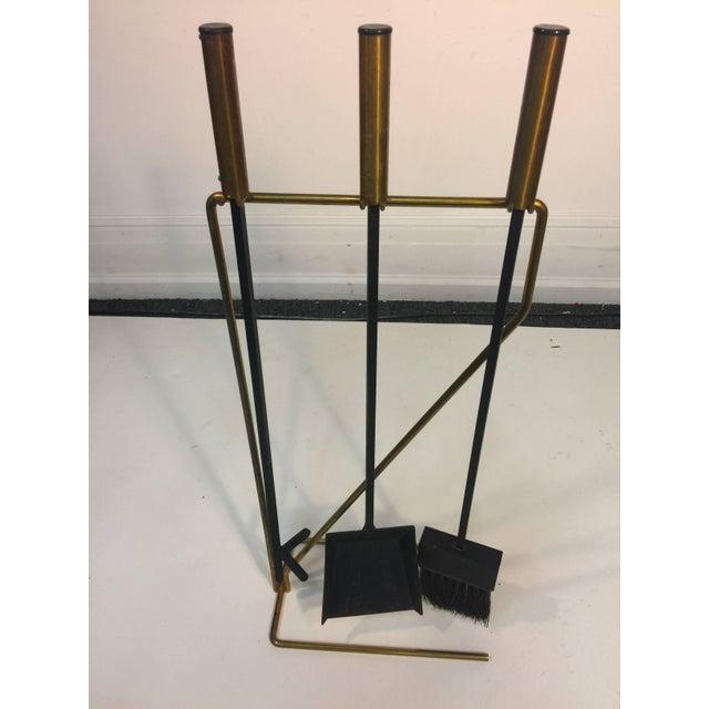 Mid-Century Modern Mid-Century Modern Brass and Black Iron Modernist Firetool Set For Sale - Image 3 of 7