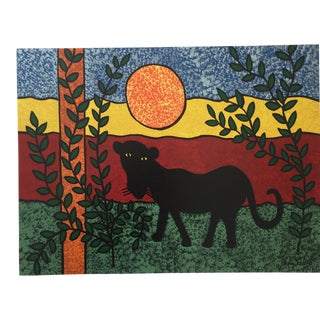 Panther Contemporary Folk Painting For Sale