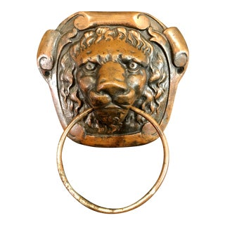 Antique Bronze Figurative Lion Head Door Knocker or Towel Rack For Sale