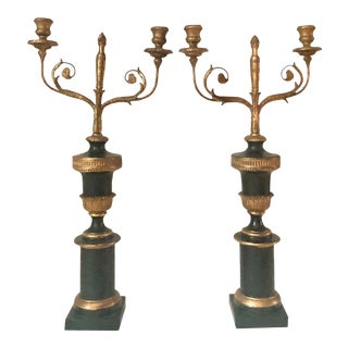 19th Century Black and Gilt Candelabras- a Pair For Sale