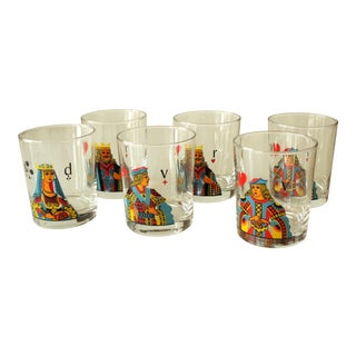 1960s Playing Cards Symbols Juice / Whiskey Glasses - Set of 6 For Sale