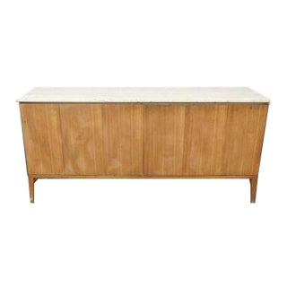 Mid-Century Modern Paul McCobb Travertine Marble Trifold 6 Door Sideboard For Sale