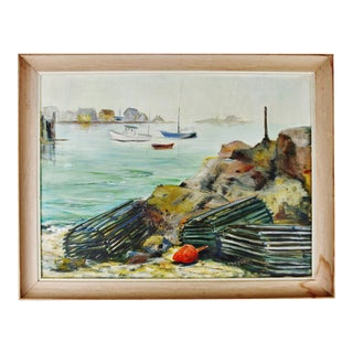 Vintage Framed Original Nautical Oil on Canvas Painting Lobster Traps - Artist Signed For Sale