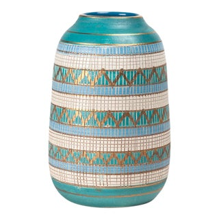 Aldo Londi Bitossi Blue, Turquoise and Gold Seta Vase For Sale