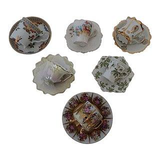Mismatched Porcelain Demitasse Cups and Saucers - Set of 12