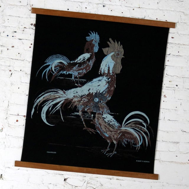 Wonderful mid-century modern silkscreen wall scroll titled Chanticleer by Robert R. Bushong for Tom Tru and distributed by...
