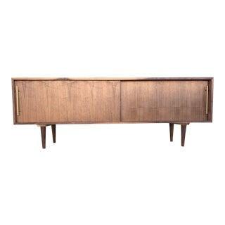 72″ Hand Crafted Streamline Walnut Credenza For Sale