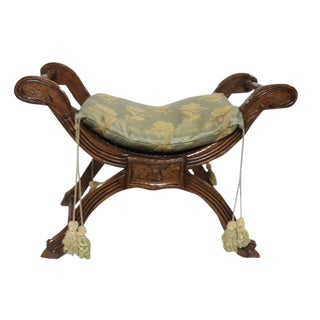 Antique French Savarola Style Carved Bench French Walnut Cerused Stool/Seat For Sale