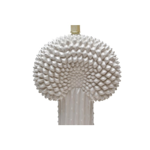 Metal Hollywood Regency White Porcelain Cactus Table Lamp With Brass Base For Sale - Image 7 of 10