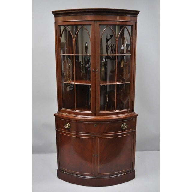 Vintage Mid-Century Finch Mahogany Bow Front China Cabinet For Sale - Image  12 of - Vintage Mid-Century Finch Mahogany Bow Front China Cabinet