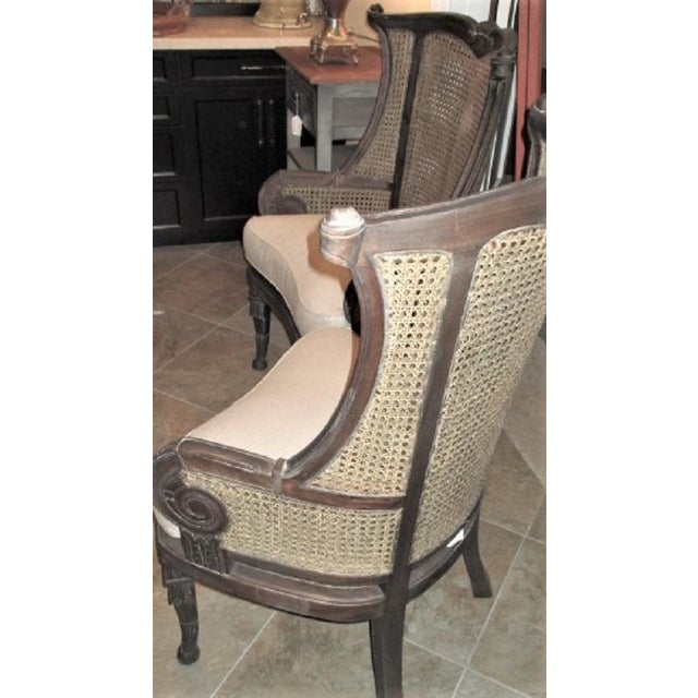 Modern Off White Linen Wingback Chairs French Style Cane and Mahogany Accent Chairs- A Pair For Sale In San Diego - Image 6 of 9