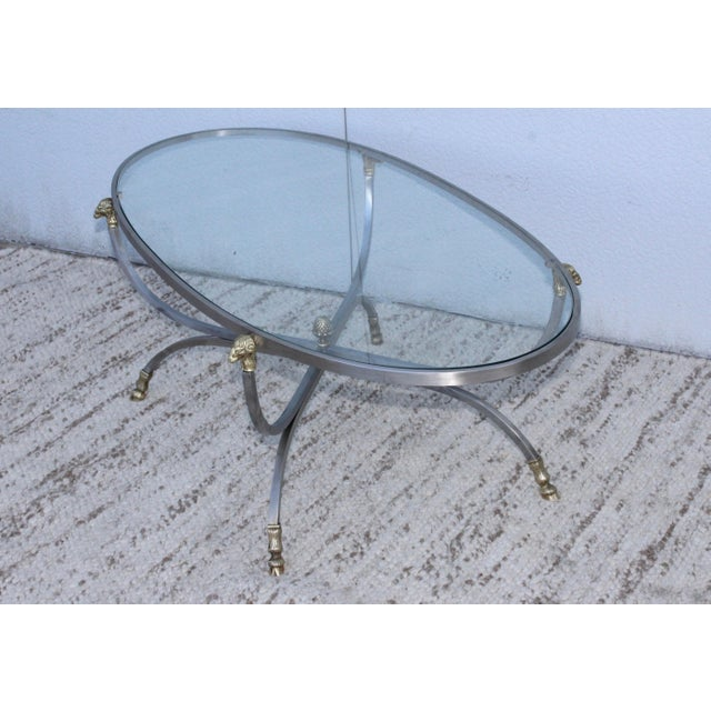 Steel and Brass Rams Head Oval Italian Coffee Table For Sale - Image 12 of 13
