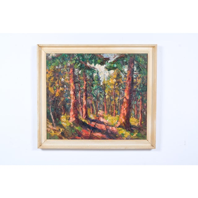 Green Expressionist Forest Lined Path by Finn Andersen For Sale - Image 8 of 8