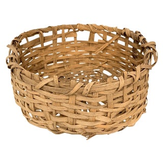 Early 20th Century Primitive Splint Basket For Sale