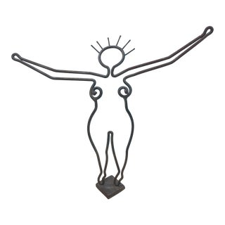 Vintage Jean Cocteau Style Iron Nude Female Sculpture For Sale