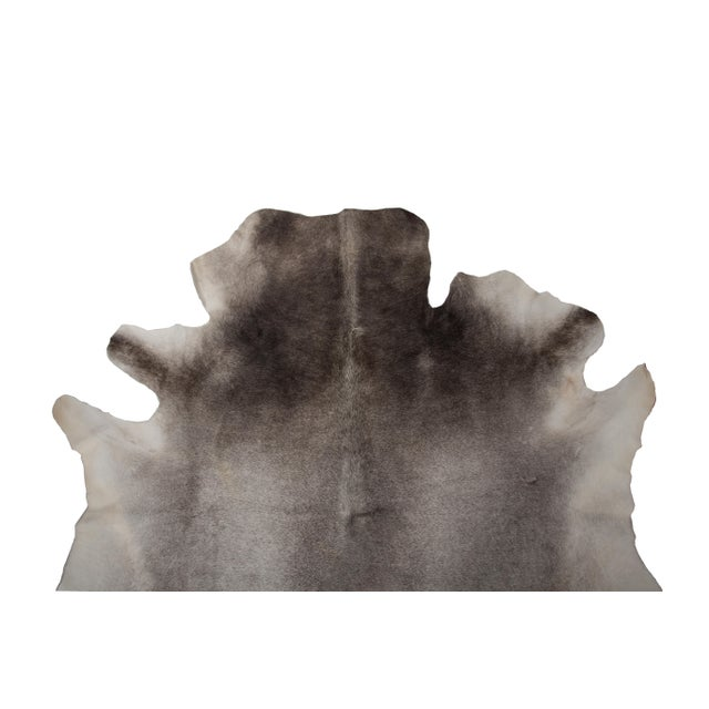 """Boho Chic Authentic Rare Aydin Cowhide Rug, Gray, Handmade in Europe - 6'0""""x7'0"""" For Sale - Image 3 of 11"""