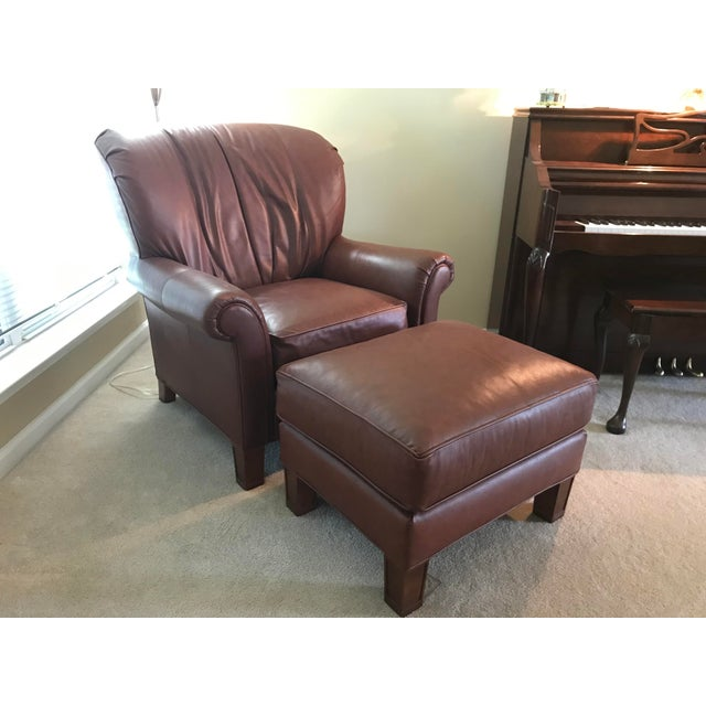 Pearson Pearson Leather Wing Chair and Footrest For Sale - Image 4 of 4