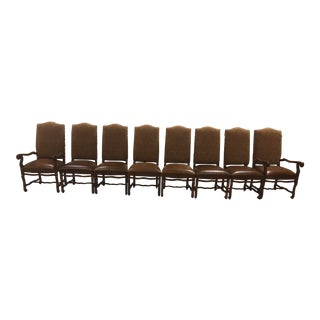 Custom Made Fabric/Leather Dining Chairs - Set of 8 For Sale