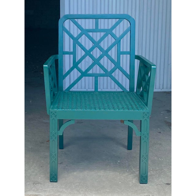 Wood Vintage Green Fretwork and Cane Arm Chair For Sale - Image 7 of 7