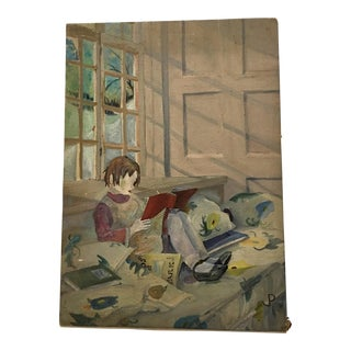 1950s Jody Puglese Girl Reading Acrylic Painting For Sale