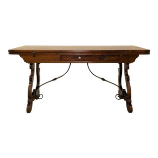 Rustic Trestle Base Flip Top Console Table - Dining Table - Desk For Sale