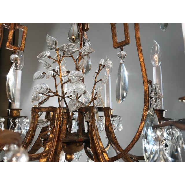 French 1930 French Gilt Tole & Crystal Chandelier For Sale - Image 3 of 11