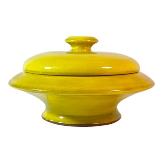 Vintage Madeline Step One Betty Baugh Bright Yellow Serving Dish W/ Lid For Sale