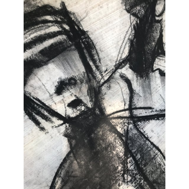Abstract 1950s Vintage Chalk Man & Woman Nudes Large Abstract Drawing For Sale - Image 3 of 9
