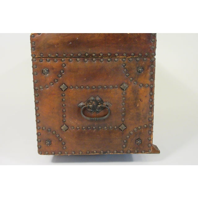 Mid-Century Modern 1950s Leather Studded Dome Top Trunk For Sale - Image 3 of 13