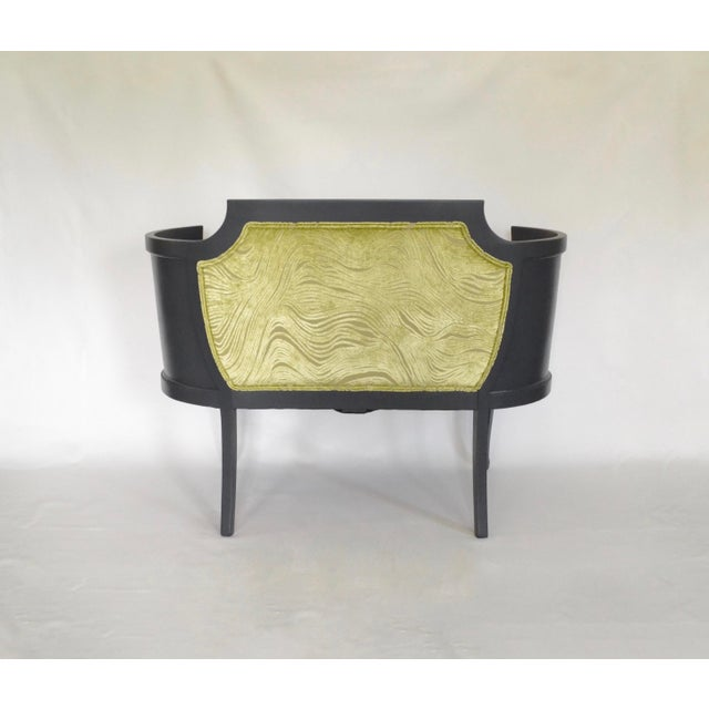 Boho Chic Antique Mahogany Striped Velvet Upholstered Settee Arm Chair For Sale - Image 3 of 7