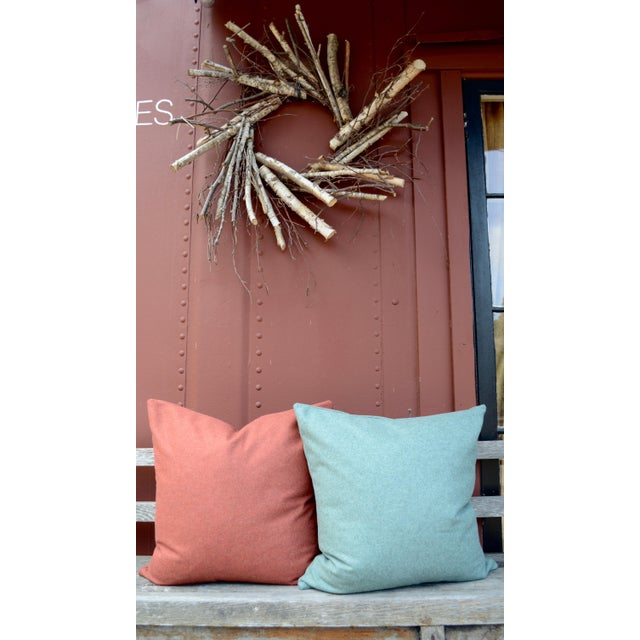 Italian Orange Sustainable Wool Pillow - Image 6 of 8