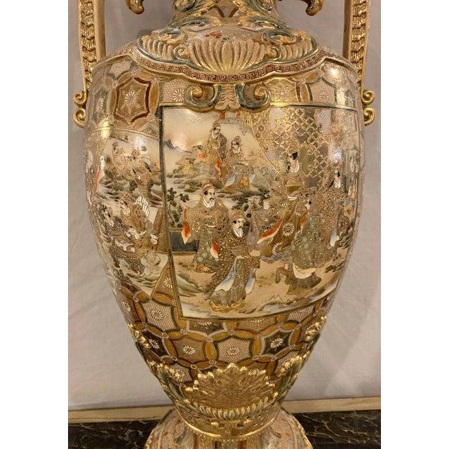 Asian Satsuma Thousand Face Vase or Urn Palace Sized Twin Handled For Sale - Image 3 of 13