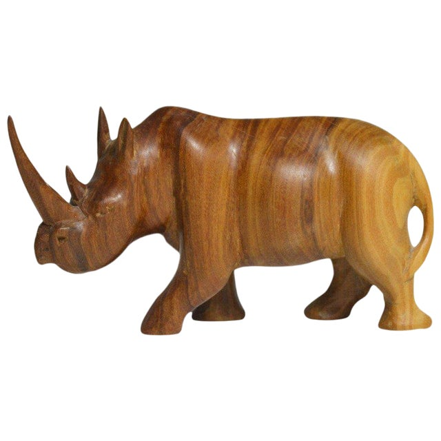 1950s Teak Rhinoceros Sculpture For Sale