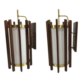 Wood and Brass Mid Century McFadden Lighting Wall Sconces - a Pair For Sale