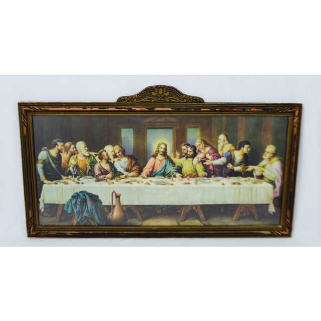 Early H. Zabateri Framed Last Supper Print - Image 2 of 10