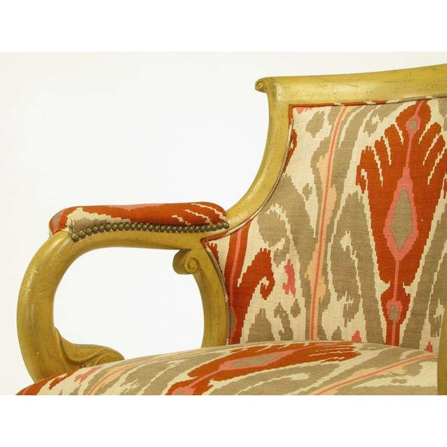Pair Interior Crafts Regency Scrolled Arm Chairs In Ikat Fabric - Image 6 of 10