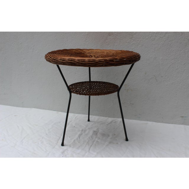 Mid 20th Century Pair of Rattan Chairs and Table in the Style of Franco Albini For Sale - Image 5 of 8