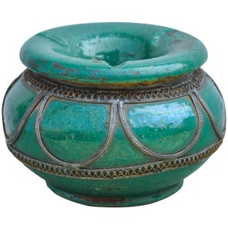 Antique Moroccan Ceramic Ashtray For Sale