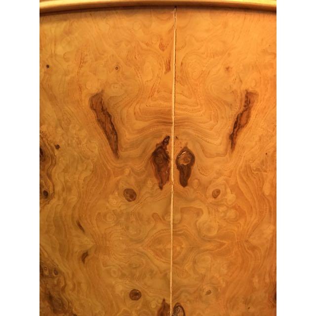 1980s Transitional Henredon Olive Burl Drum Table For Sale - Image 9 of 11