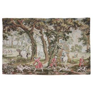 Gobelin XVII Century Style French Fox Hunt Equestrian Tapestry For Sale