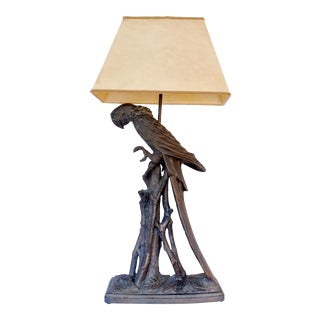 1970s Bronze Tone Parrot Table Lamp For Sale