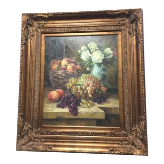 Early 20th Century Antique Still Life With Fruit and Flowers Oil Painting For Sale